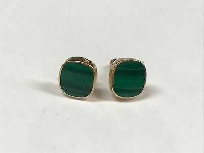 14K Yellow Gold Malachite Stud Earrings - 2.1 Grams