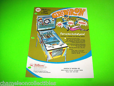 GRIDIRON By WILLIAMS 1969 ORIGINAL PINBALL MACHINE PROMO SALES FLYER BROCHURE