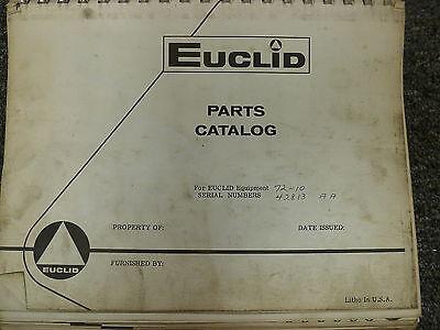 Euclid Model 72-10 Front End Wheel Loader Parts Catalog Manual Book