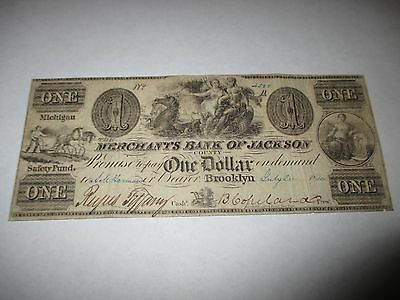 1 1840 Brooklyn Michigan Mi Obsolete Currency Bank Note Bill  Jackson County