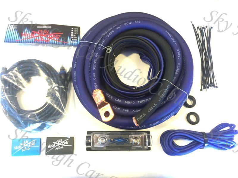Oversized 1/0 Ga AWG Amp Kit Twisted RCA BLUE Black Complete Sky High Car Audio