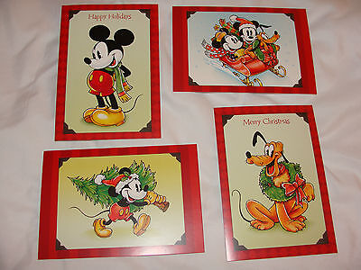 (4 Disney Mickey Minnie Mouse Pluto Christmas Cards Sunrise W/ Envelopes)
