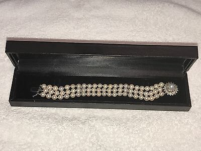 Vintage Pearl and Diamond Bracelet with 14k White Gold