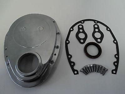 SBC Polished Aluminum Timing Chain Cover Fits SB Chevy 283 305 327 350 383 400 (Chevy Polish)