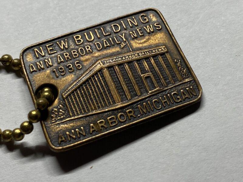 Vtg 1936 Ann Arbor Daily News Building Key Fob Charm A2 Michigan