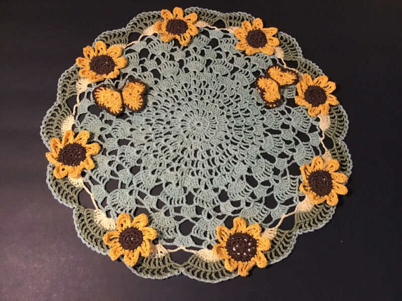 """Brand New Hand Crocheted Sunflowers And Butterflys 15 1/2"""" Centerpiece Doily"""
