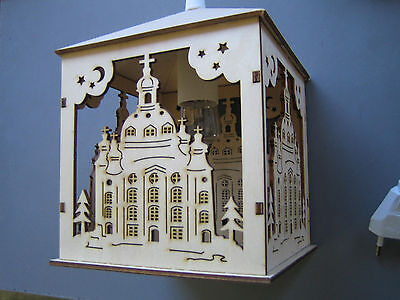 Dekorative Beleuchtung (Dekorative Holz Laterne Frauenkirche mit elektrischer Beleuchtung AUSVERKAUF!)