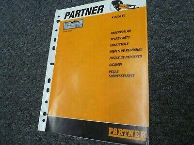 Partner K2300el Electric Concrete Street Saw Parts Catalog Manual Book