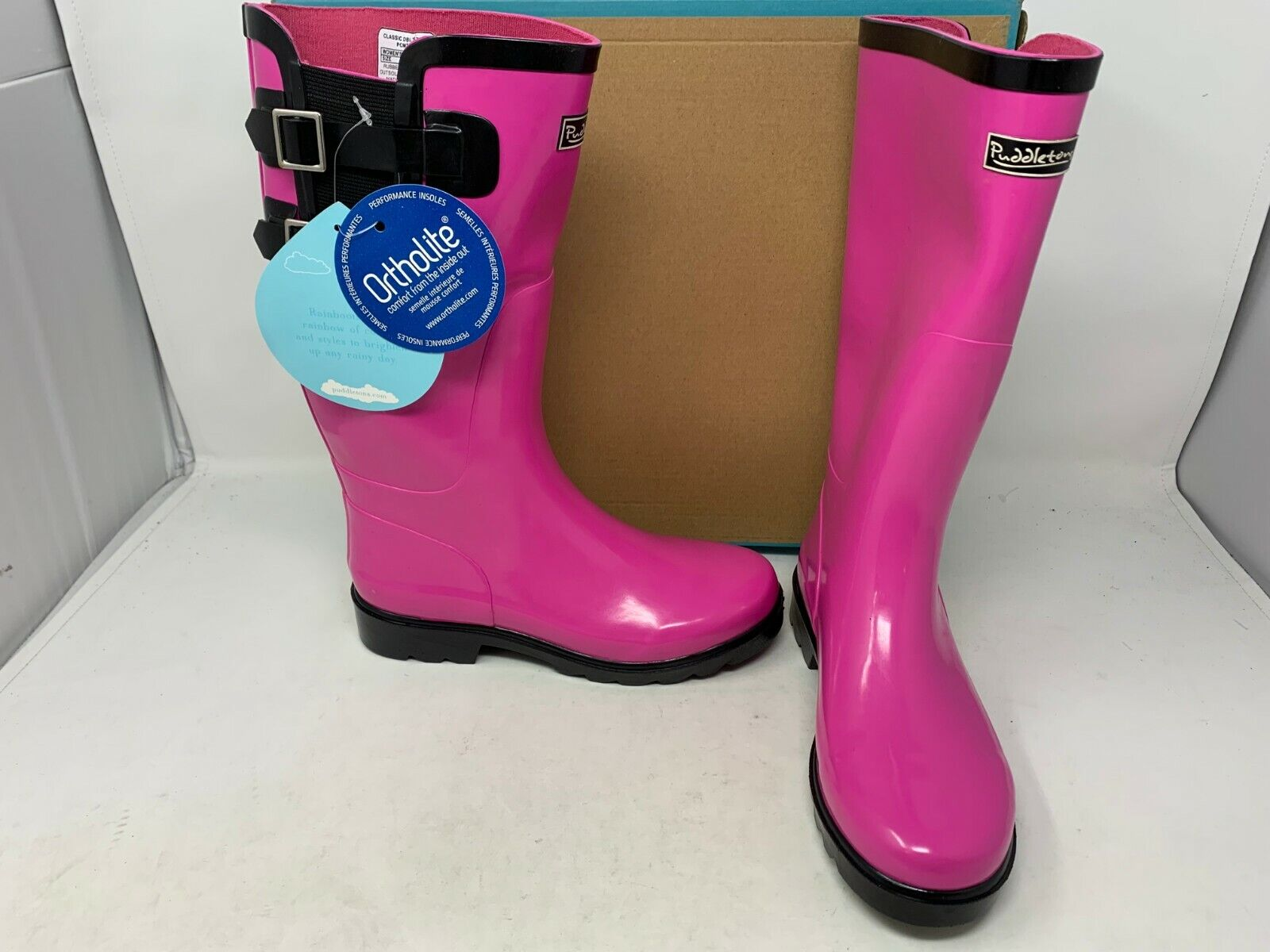 NEW! Puddletons Women's Classic Double Strap Rubber Boots Pn