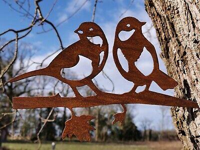 RUSTY METAL PAIR OF BLUE TITS SILHOUETTE GARDEN ART  BIRD SCULPTURE GARDEN DECOR