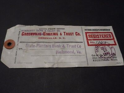 1940 Registered Mail Bank Tag Greenville Nc Richmond Va 832 10  887