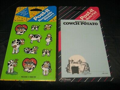Vintage 1988 Post-it Cows Memo Sticky Note Pad W 1990 Cows 4-sheet Stickers New
