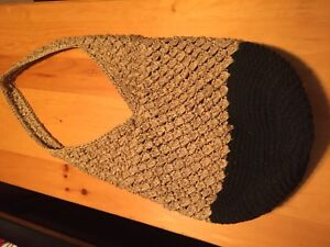 Woven tan and black purse