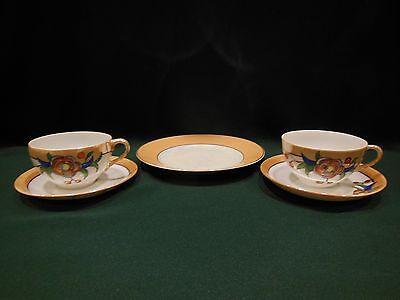 2 Cups 2 Saucers Vintage Hand Painted LUSTERWARE TRICO Japan / German Plate