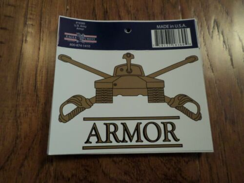 U.S MILITARY ARMY ARMORED WINDOW DECAL BUMPER STICKER U.S ARMOR U.S.A MADE