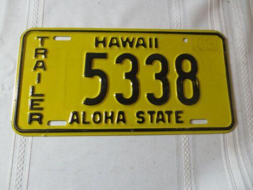 1969 HAWAII TRAILER LICENSE PLATE 5338