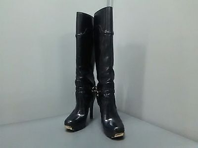 Auth GUCCI Black Gold Leather Boots Women