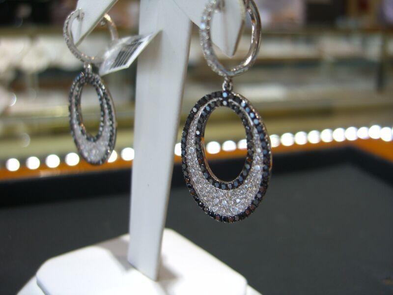 Fine Womens Drop Earrings White And Black Diamonds 18 Karat White Gold New Wow!