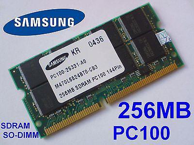 256MB PC100 SDRAM CL2 SO-DIMM 144pin 100MHz NOTEBOOK LAPTOP SODIMM RAM SPEICHER 100 Mhz Pc