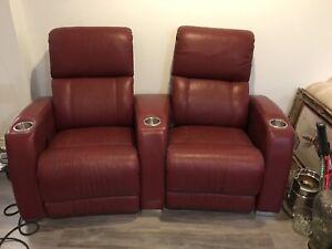 Chaise en cuir électrique, leather reclining chairs
