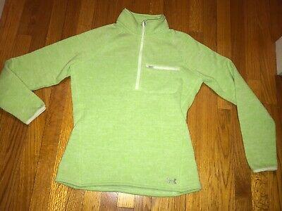 Women's Under Armour Cold Gear Storm 1 1/4 Zip Large Lime Green Sweater Fleece