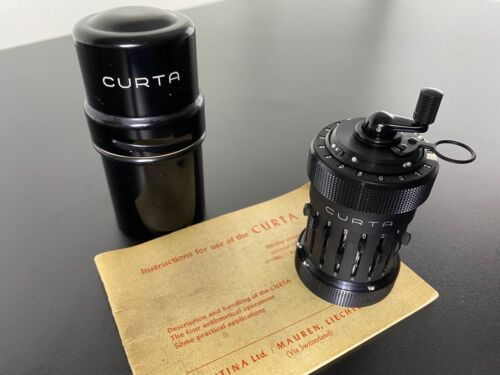 Rare 1951 Vintage Curta Type 1 Mechanical Calculator With Case And Manual