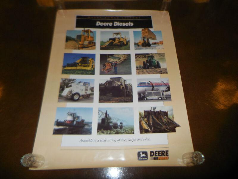 "Original John Deere Dealer Diesel Power Systems Poster Sign 38"" X 50"" Huge"