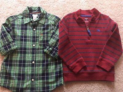 Carter's Toddler Boy Dress Shirt Sweater Lot Plaid Green Red 4T - Toddler Boy Red Dress Shirt