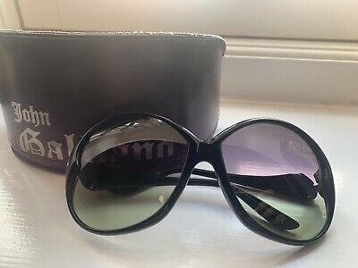 John Galliano Cool Ladies Round Sunglasses  Black Used & Authentic
