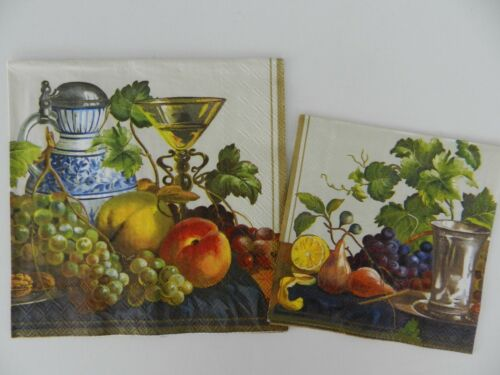 2 (Two) Individual 3 Ply Paper Napkins for Decoupage Craft Naturmort Fruits