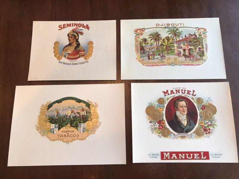 Cigar Box Labels Lot Of 4.