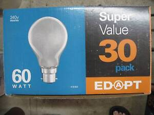 Box of 60 Watt frosted incandescent BC bulbs. Merewether Newcastle Area Preview