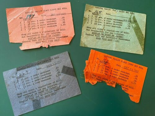 CRYSTAL MINNESOTA, VALLEY PLACE SKI HILL, 4 tickets, 1968-69.  25 cent skiing!