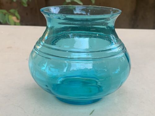 Antique Rare Handcrafted Collectible Burberry Crystal Blenko Glass Jar Vase Pot