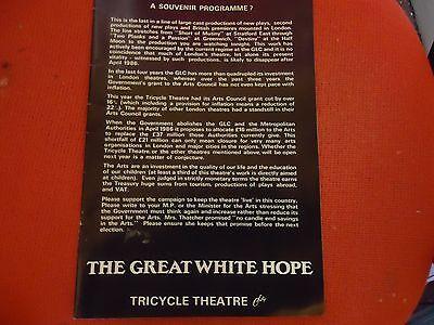 BOXING/THEATRE.THE GREAT WHITE HOPE.JACK JOHNSON.HUGH QUARSHIE PROGRAMME.