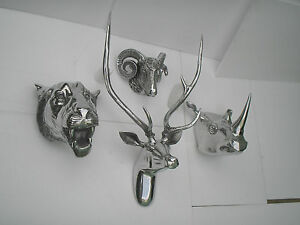 Large-Wall-Mounted-Metal-Stag-Head-With-Lion-Rhino-Ram-Head-Deer-Antelope-ff