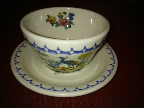 MILWAUKEE ROAD PEACOCK BOUILLON CUP AND SAUCER SYRACUSE CHINA HARD TO FIND!