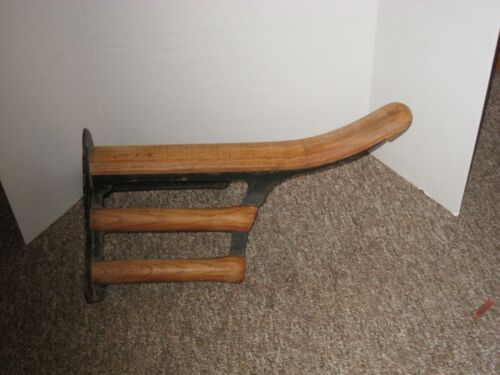Antique J.W. FISKE Cast Iron & Wood Saddle Rack from Schoharie County NY Barn