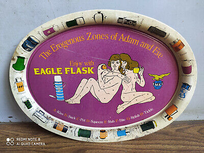 Rare old EAGLE FLASK advertising beautiful tin tray of 60's.