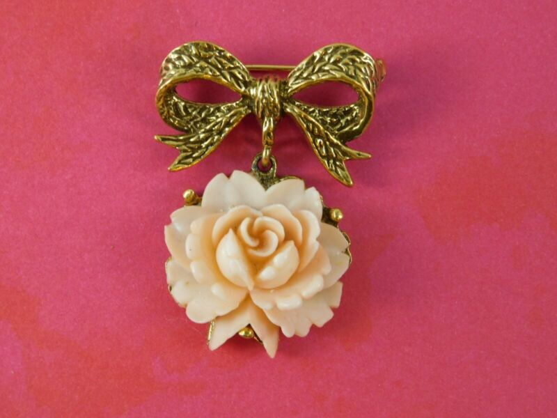 Vintage Faux Coral Rose Bow Brooch Gold Tone Dangling