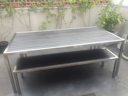 Outdoor bbq and table