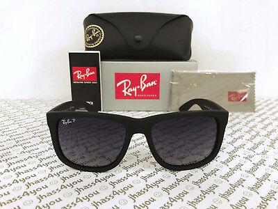 Ray-Ban Justin POLARIZED RB4165 622/T3 Wayfarer Matte Black/Grey Gradient 54mm