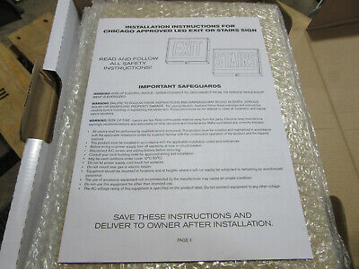 Isolite Caxteu1rw-sw Chicago Approved Steel Led Exit Or Stair Sign 100-300v New
