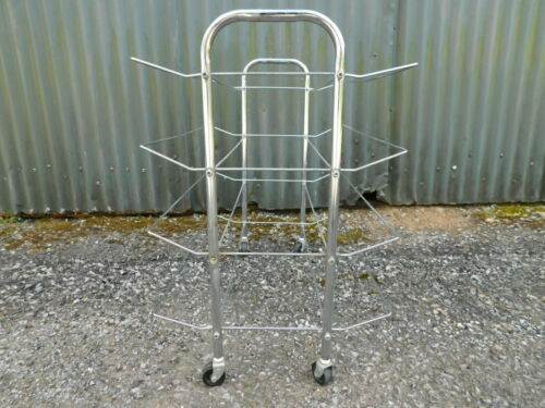 Vintage 4 Tier Rolling Wire Chrome Shoe Caddy Rack Stand FREE SHIP