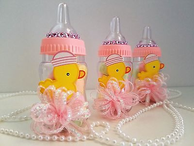 12 Baby Duck Fillable Bottles Baby Shower It's a Girl Favors Prizes Pink - Baby Shower Decorations Ducks