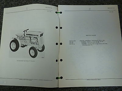 International Harvester Ih Model 73 Cub Cadet Tractor Parts Catalog Manual Book
