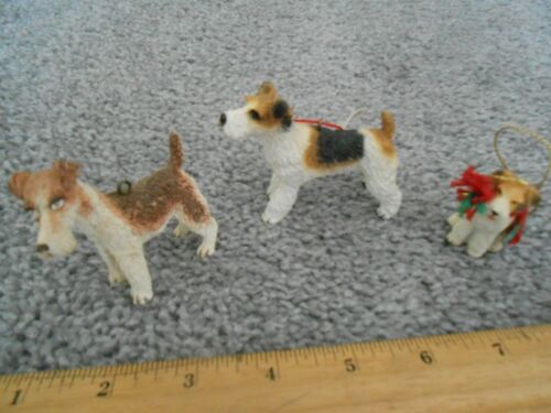 3 Darling Wire Fox Terrier Christmas Ornaments, sold together