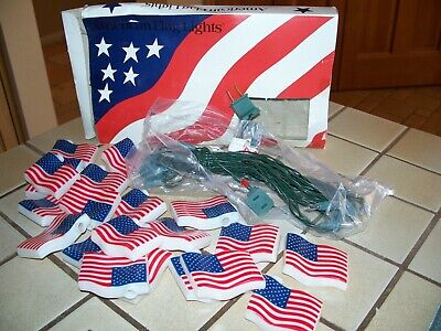 VTG AMERICAN FLAG BLOW MOLD 3D STRING LIGHTS LARGE SET 20 CAMPING RV NEW IN BOX