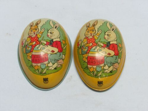 Vintage J Chein EASTER EGG Tin Litho Ma & Pa BUNNY RABBIT Decorating Happy Egg