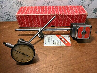 Starrett Magnetic Base No 657aa W Box Nilco .0001 Inch Dial Indicator